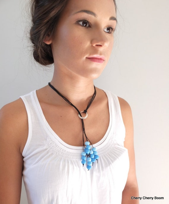 Lariat necklace, necklace,lariat, jewellery, choker, boho, tassel, beaded, leather, affirmation, inspirational, blue, inspirational, love
