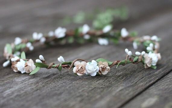 Earth Tone Wedding Flower Crown Floral Crown Rustic Wedding