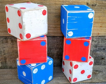 Lawn and yard Games, Backyard Dice, Outdoor Games, Lawn Games, Yardzee Games, Large Dice, Home decor, Wood Dice, Reclaimed wood, Patriotic