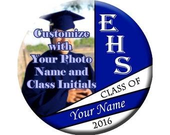 "3"" Graduation Photo Pinback Button Badge, geometric design, Class of 2016 customizable button"