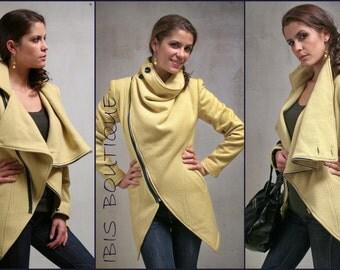 Modern yellow warm woman winter coat, plus sizes large sizes extravagant elegant coat, sexy winter coat, asymmetric high fashion coat jacket
