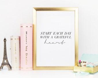 "Typography Print ""Start Each Day a Grateful Heart"", Wall Art Decor, Home Decor Print, Bedroom Poster, Typography Poster, Calligraphy Print,"