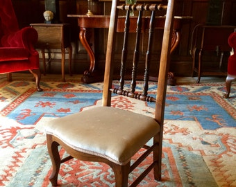 Beautiful Antique 19th Century Upholstered Prayer Chair
