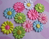 SET of 20 Bright and Colorful satin Daisy Flower and Spring Appliques -6 colors/diy/trim/embellishments/hair bow centers/hair bow/hair clip