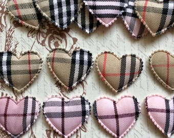 15 Gingham Assortments Pink and Brown Padded Heart Appliques