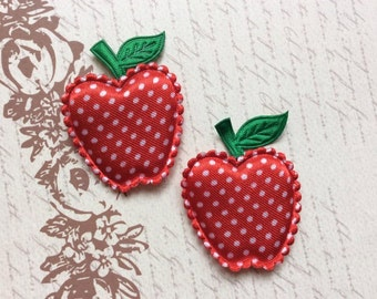 SET of 10 Big Satin Padded Red with White Polka Dot Apple Applique/trim/DIY/embellishments/hair clip/hair bow/scrapbooking/cards
