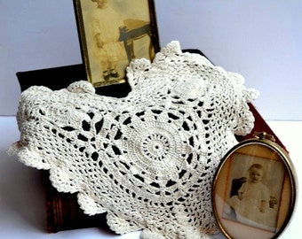 Vintage Crochet Large Heart Shaped Doily, 11""