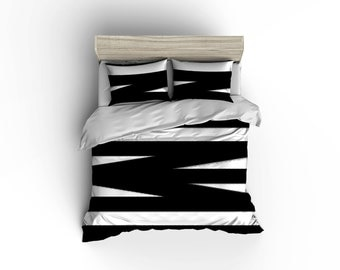 Black and white bandage striped duvet cover