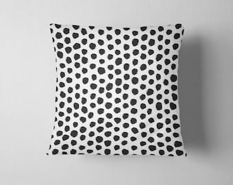 Black and white spotted dalmation throw pillow