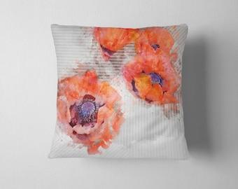 Watercolor stripe poppy flower throw pillow