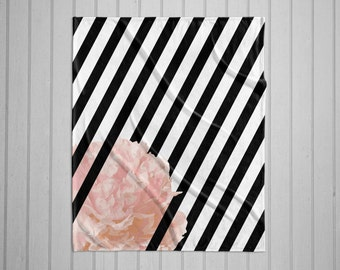 Black and white  stripe peony modern plush throw blanket with white back