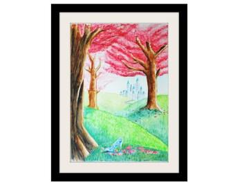 Fairy Meadow cherry blossom Watercolour Print, fairytale, cinderella glass slipper, wall art, disney, castle, art print