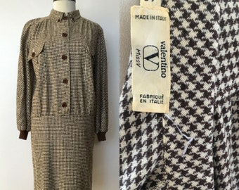 1980's Valentino Miltary Style Drop Waist  Dress