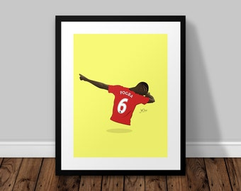 Paul Pogba Dab Illustrated Poster Print | A6 A5 A4 A3
