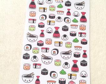 0166 Sushi Kawaii REPOSITIONABLE DIE CUT stickers