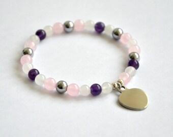 Pink and white jade, amethyst, hematite and tibetan silver bracelet. Gems 6mm