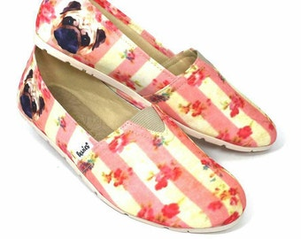 PUG SHOES, hush puppies, dog lovers, dog breeds, women shoes, animal lovers, puppies, shoes for women, dog rescue,  slip ons, pug puppies