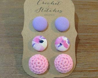 Button earrings ~ set of three ~ crochet earrings