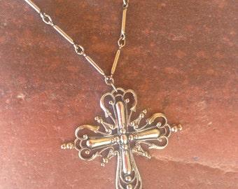 1970's Filigree Cross Necklace