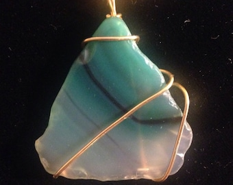 Large 1970's Wire Wrapped Agate Necklace