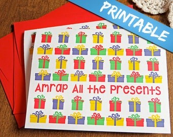 Crossfit Inspired Christmas Cards - AMRAP The Presents Fitness Weightlifting Holiday Greeting Card