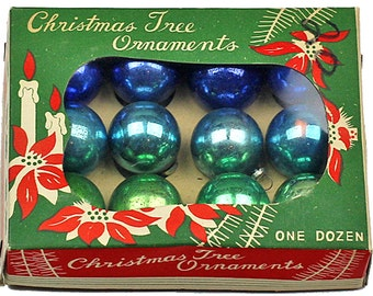 """Vintage Blue and Green Ornaments, Miniature Glass Christmas Ornaments, Feather Tree Ornaments, Vintage Christmas, In Box, 1"""" 1 Inch, 25mm"""