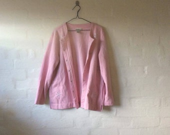 amazing pink cardigan with cute jewel snow fakes