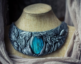 Flowers Statement necklace Bib necklace  silver large necklace labrodorit necklace  polymer clay necklace fantasy necklace metall imitation