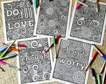 Inspiration Coloring Pack | 5 Pages | Curbed Chaos