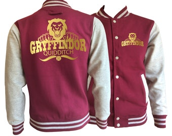 Vintage style Harry potter Inspired Gryffindor Quidditch varsity jacket with gold emblem in front and back.  Amazing!