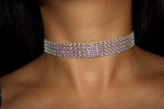 Small Diamond Choker Small Rhinestone Choker Silver