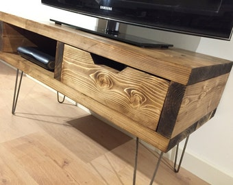 Solid Pine Box TV Stand With Drawer and Hairpin Legs