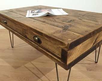 Reclaimed Pine Rustic Box Coffee Table With Drawer Solid Wood Metal Hairpin Legs  FREE UK DELIVERY.