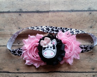 Cow headband Farm girl cow print headband Holstein cow headband