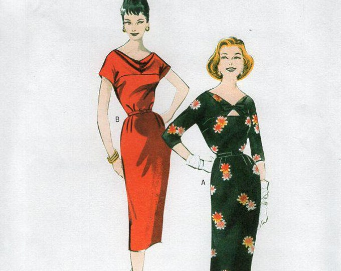 Free Us Ship Sewing Pattern Butterick 5707 Vintage Retro 1950s 50s 1958 Reproduction Dress Size 6/14  Bust 30 31 32 34 36, (Last size left)