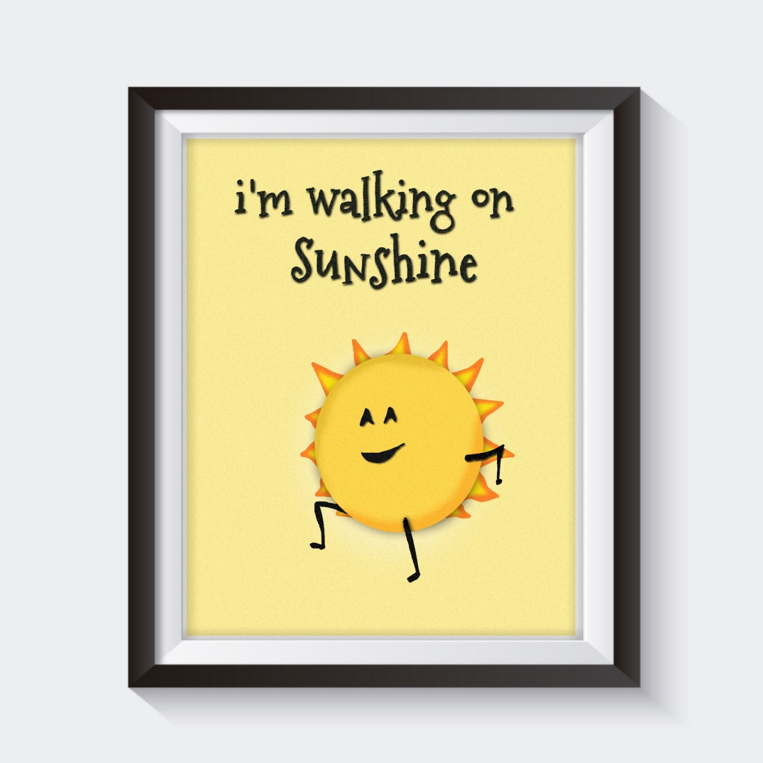 i 39 m walking on sunshine print funny kitchen art by sticktreeprints. Black Bedroom Furniture Sets. Home Design Ideas