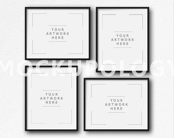 8x10 16x20 24x30 set of four vertical and horizontal digital black frame mockup on white plain wall background instant download