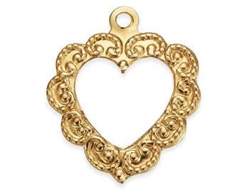 1 Pc 14K Gold Filled Fancy Heart Charm 11.2x14 mm (GFP1838)