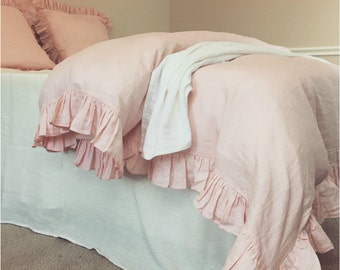 Pink Ruffle Duvet Cover handmade in natural linen, shabby chic bedding, available in Queen, King, twin bedding, pink bedding