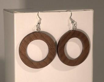 Wooden earrings, wood earrings, wooden hoop earrings, mahagoni wood earrings, dangle drop earrings, wood jewelry handturned
