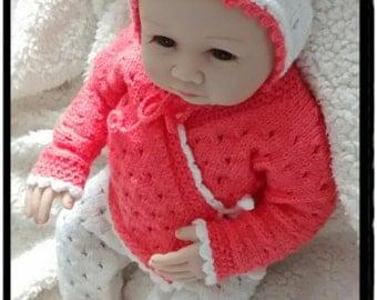 Baby knitting set,baby gift,Smarty Pants,Wrap Cardigan,Hat, Bonnet,Newborn photo props.