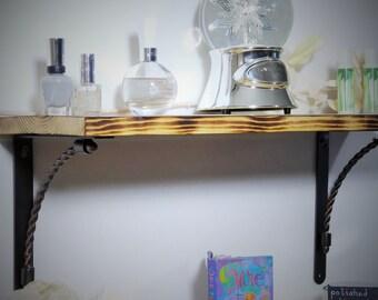 Wooden Shelves - Rustic Shelves - Shabby Chic - Scorched Shelves - Set of Two Shelves - Wood Bookshelf - Handcrafted Shelves - Woodgrain