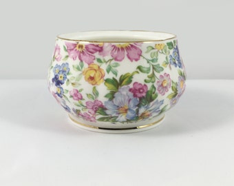 1980s Vintage Allyn Nelson Collection Chintz Fine Bone China Sugar Bowl