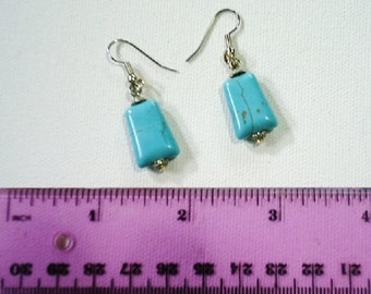 Handcrafted large 8mm (top) x 18mm (sides) x 12mm (bottom) x 4mm deep genuine Turquoise semi-precious stone earrings*surgical steel earwires