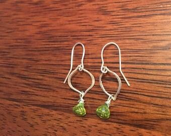 Sterling silver green peridot drop earrings