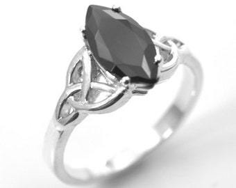 Sterling Silver 1.5ct Marquise Black  Diamond-Unique Trinity Knot Ring