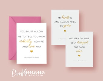 8 Jane Austen Love Quotes Note Cards - Say It With Jane   Jane Austen Stationery   Love Note   Book Lovers