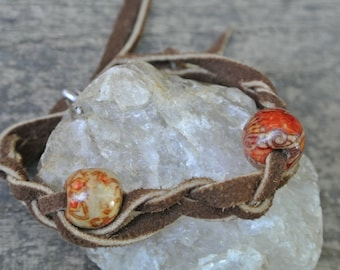 Braided Leather Decorative Wood Bead Bracelet