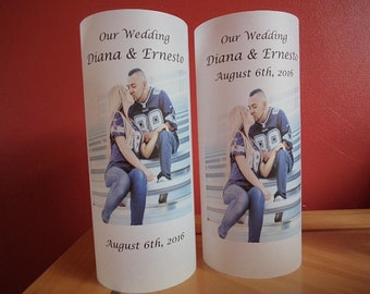 Wedding Day Luminaries, Wedding Day, flameless candle, Photo Luminaries, wedding decor , table centerpiece, Wedding candles.