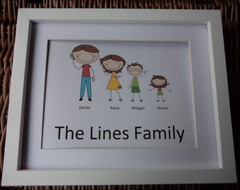 Family Cartoon Picture, Perfect gift, New home gift, Birthday gift, family portrait, cartoon family, Personalised gifts, cartoon picture